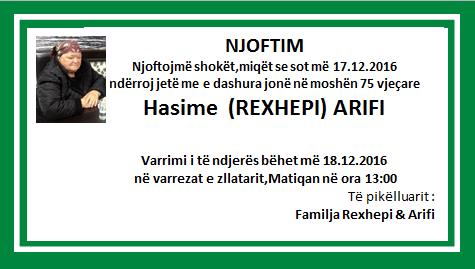 Vdekje Hasime REXHEPI-ARIFI